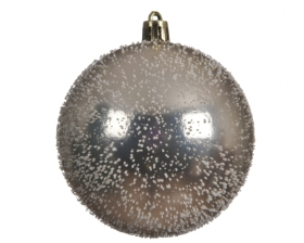 SHATTER PROOF BAUBLE CHAMPAGNE WITH SNOW 8CM