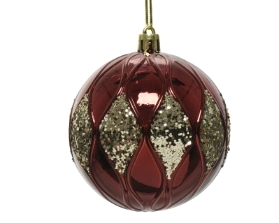 SHATTER PROOF BAUBLE OXBLOOD WITH GLITTER 8CM