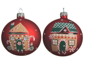 GLASS DECORATIVE BAUBLE RED WITH HOUSE DESIGN 2 ASS 8CM
