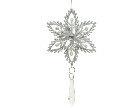 SNOWFLAKE TREE DECORATION SILVER 16CM
