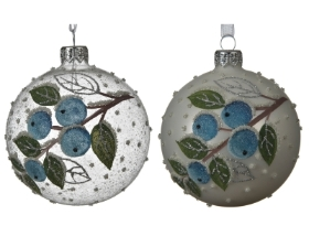 GLASS DECORATIVE BAUBLE WITH BERRY DESIGN 2 ASS TRANSPARENT WHITE 8CM