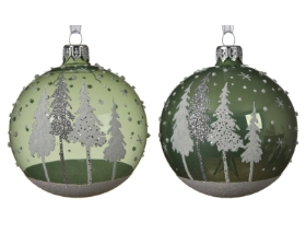 GLASS DECORATIVE BAUBLE WITH TREE DESIGN SAGE GREEN 2 ASS 8CM