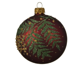 GLASS DECORATIVE BAUBLE WITH BRANCH DESIGN OXBLOOD 8CM