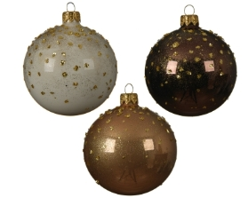GLASS DECORATIVE BAUBLE WITH DOTTED TOP 3 ASS 8CM