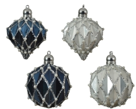 DECORATIVE GLASS BAUBLE BLUE OR WHITE WITH PEARLS 4 DESIGNS 8CM