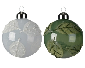 DECORATIVE GLASS BAUBLE WHITE OR SAGE GREEN 8CM