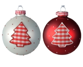 DECORATIVE GLASS BAUBLE CHRISTMAS RED OR WHITE WITH TREE DESIGN 8CM
