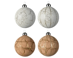 DECORATIVE GLASS BAUBLE CRACKLED 2 DESIGNS BROWN WHITE 10CM