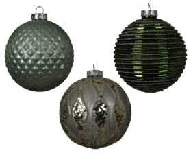 DECORATIVE GLASS BAUBLE GREEN GREY 3 DESIGNS 10CM