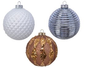 DECORATIVE GLASS BAUBLE 3 COLOURS 10CM