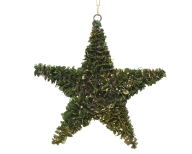 BOXWOOD STAR WITH GLITTER FINISH