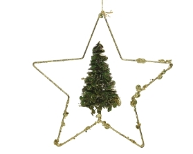 IRON STAR WITH TREE GLITTER FINISH 5CM