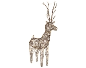 LED BROWN WICKER DEER OUTDOOR OR INDOOR WARM WHITE 69CM
