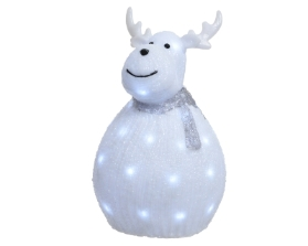 LED ACRYLIC DEER WITH SCARF COOL WHITE OUTDOOR OR INDOOR 37CM