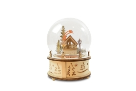 GLASS DECO BALL MUSICAL BOX CHRISTMAS MARKET SCENE LED BATTERY OPERATED