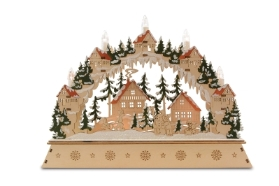 WOOD CHRISTMAS ARCH VILLAGE SCENE LED LARGE CANDLES