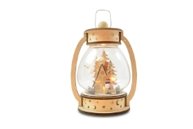 WOOD LANTERN LED WITH HOUSE DESIGN BATTERY OPERATED