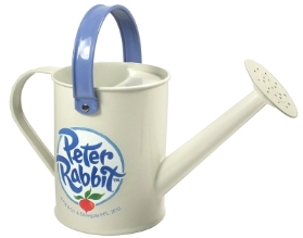 PETER AND FRIENDS CREAM METAL WATERING CAN