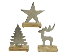 ALUMINIUM CHRISTMAS FIGURE ON WOODEN BASE SLIVER 3 DESIGNS