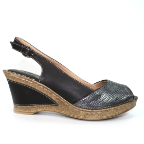 BARNES BLACK SNAKE PRINT WEDGE