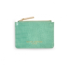 CELINE FAUX CROC CARD HOLDER MINT GREEN