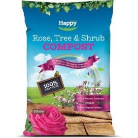 HAPPY ROSE TREE AND SHRUB PEAT FREE COMPOST 50L