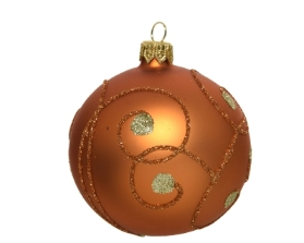 DECORATIVE GASS BAUBLE AMBER WITH CURLS AND DOTS 8CM