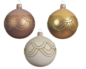 DECORATIVE GLASS BAUBLE BOW DESIGN 3 COLOURS 8CM