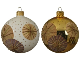 DECORATIVE GLASS BAUBLE CIRCLE DESIGN 2 COLOURS 8CM