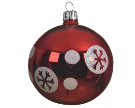 DECORATIVE GLASS BAUBLE DOT AND SNOWFLAKE DESIGN CHRISTMAS RED 8CM