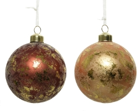 DECORATIVE GLASS BAUBLE BROWN WITH GOLD FINISH 2 DESIGNS 8CM
