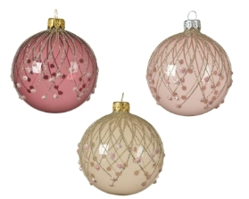 DECORATIVE GLASS BAUBLE PINK WITH GLITTER LINES 3 COLOURS 8CM