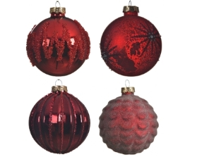 DECORATIVE GLASS BAUBLE RED 4 DESIGNS 8CM