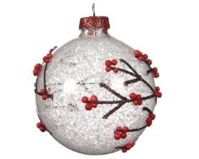 DECORATIVE GLASS BAUBLE WITH BRANCH AND SNOW DESIGN 8CM