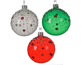 DECORATIVE GLASS BAUBLE WITH DOTS 3 DESIGNS 8CM