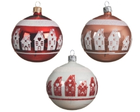 DECORATIVE GLASS BAUBLE WITH HOUSE DESIGN 3 COLOURS 8CM