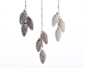 DECORATIVE GLASS HANGING PINECONE 3 COLOURS