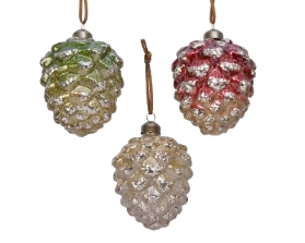 DECORATIVE GLASS PINE CONE 3 COLOURS 10CM