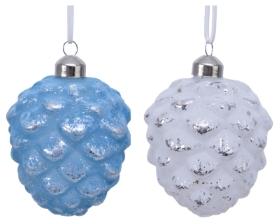 DECORATIVE GLASS PINE CONE BAUBLE 2 COLOURS 10CM