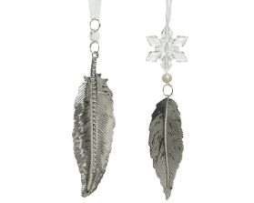 DECORATIVE HANGING SILVER IRON FEATHER 2 DESIGNS