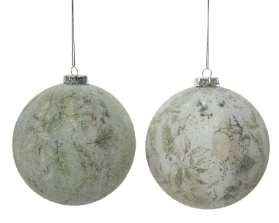 FOAM BAUBLE NATURAL 2 COLOURS 8CM