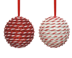 FOAM BAUBLE RED AND WHITE STRIPES 2 DESIGNS 10CM