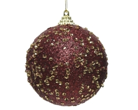 FOAM BAUBLE WITH SEQUINS OXBLOOD 8CM