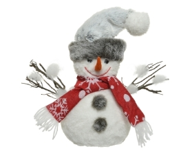 FOAM SNOWMAN WITH HAT AND SCARF 26CM