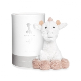 GIRAFFE BABY TOY BORN TO BE WILD WHITE AND OATMEAL