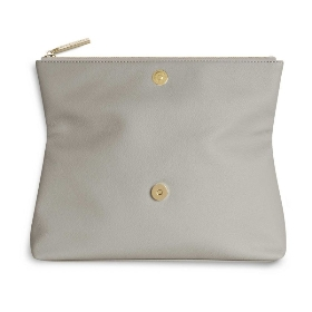 KATIE LOXTON ALISE SOFT PEBBLE FOLD OVER CLUTCH STONE
