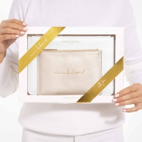 KATIE LOXTON BRIDAL PERFECT POUCH GIFT SET BEAUTIFUL BRIDESMAID METALLIC WHITE