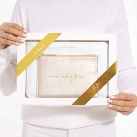 KATIE LOXTON BRIDAL PERFECT POUCH GIFT SET BEAUTIFUL MAID OF HONOUR METALLIC WHITE