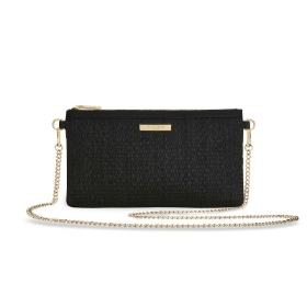 KATIE LOXTON CALLIE STRAW POUCH CROSS BODY BAG BLACK