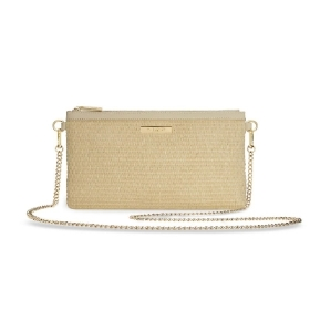 KATIE LOXTON CALLIE STRAW POUCH CROSS BODY BAG NATURAL